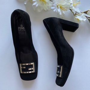 VINTAGE FENDI Wide Heel Suede Square-Toe Pumps